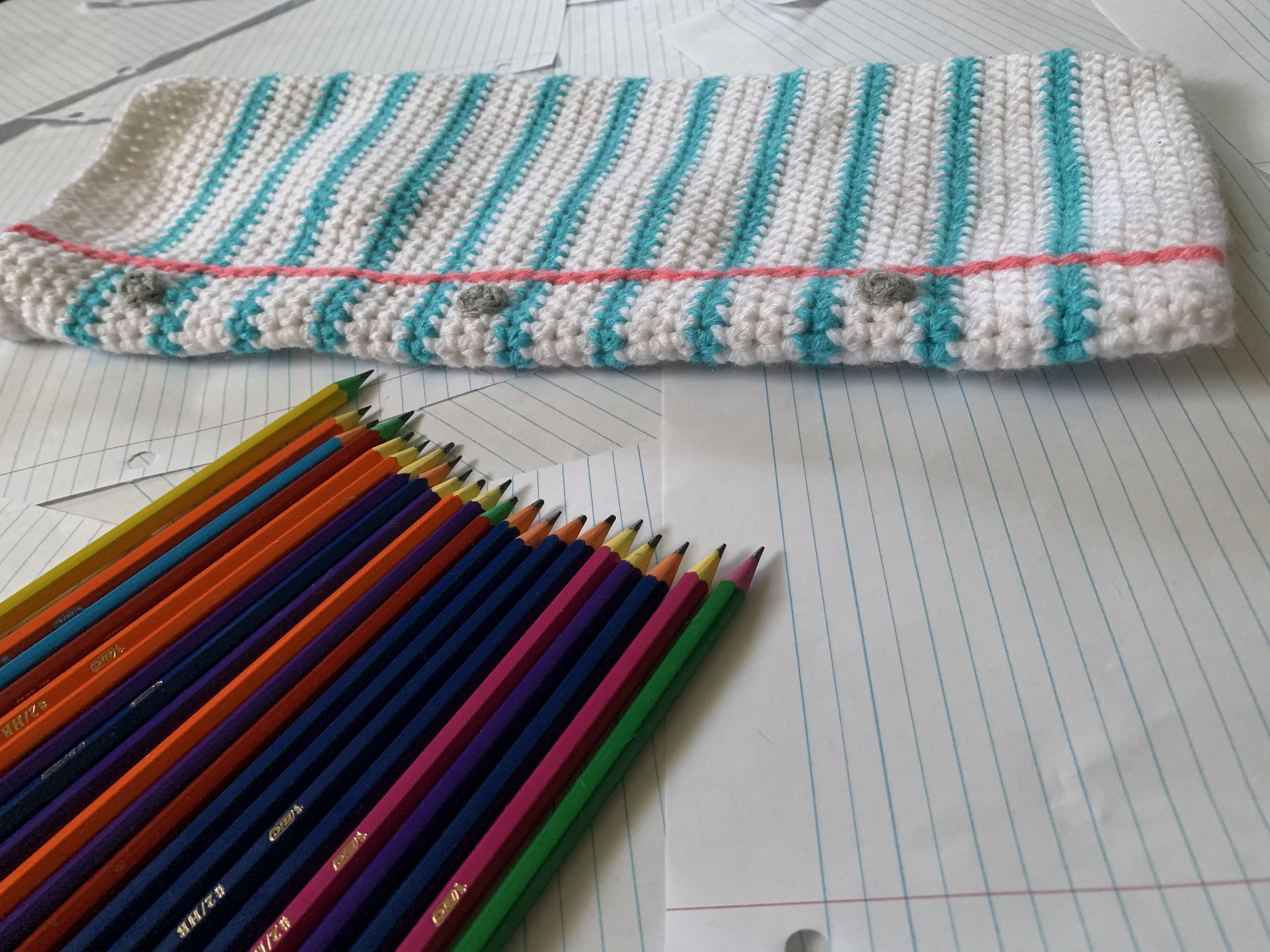 paper, stocking, pencil, Christmas, crochet, school, writer, book, gift, yarn, holiday, bag, white, December, winter, twenty five, time, year