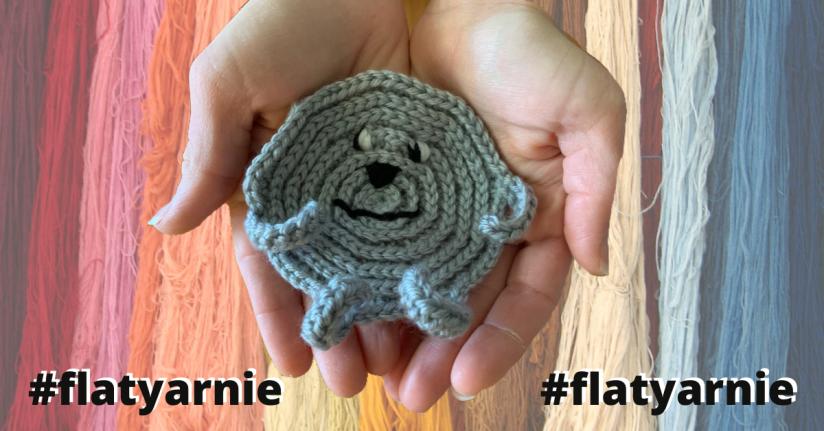 flat yarnie, yarn, flat stanley, book, story, yarn, hook, crochet, knit, children, kid, adventure, circle, round, worsted weight, flatyarnie, antipilling, premier, clover, dog, cat, skein