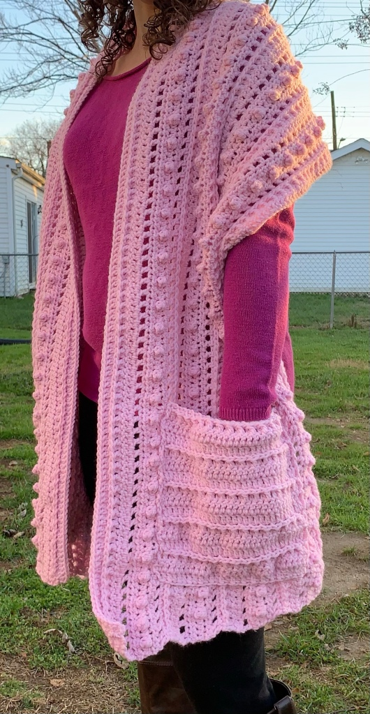 pocket shawl, crochet pocket shawl, easy pocket shawl, tutorial, popcorn stitch, crochet shawl crochet pattern, crochet free pattern