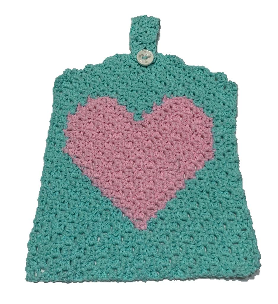 mini c2c, crochet dishtowel, valentine's crochet project, crochet heart, crochet heart dishtowel, easy crochet dishtowel
